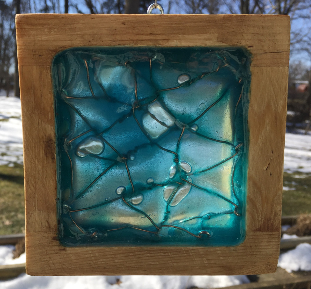 untitled glass and wood block by Steven Simmons