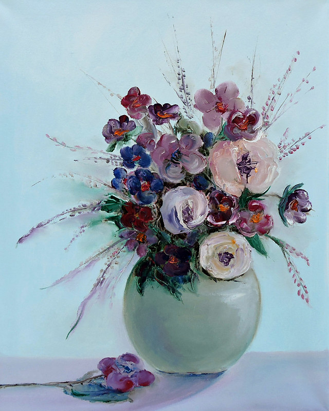 Oil painting Bouquet with Love. by Svetlana Barker