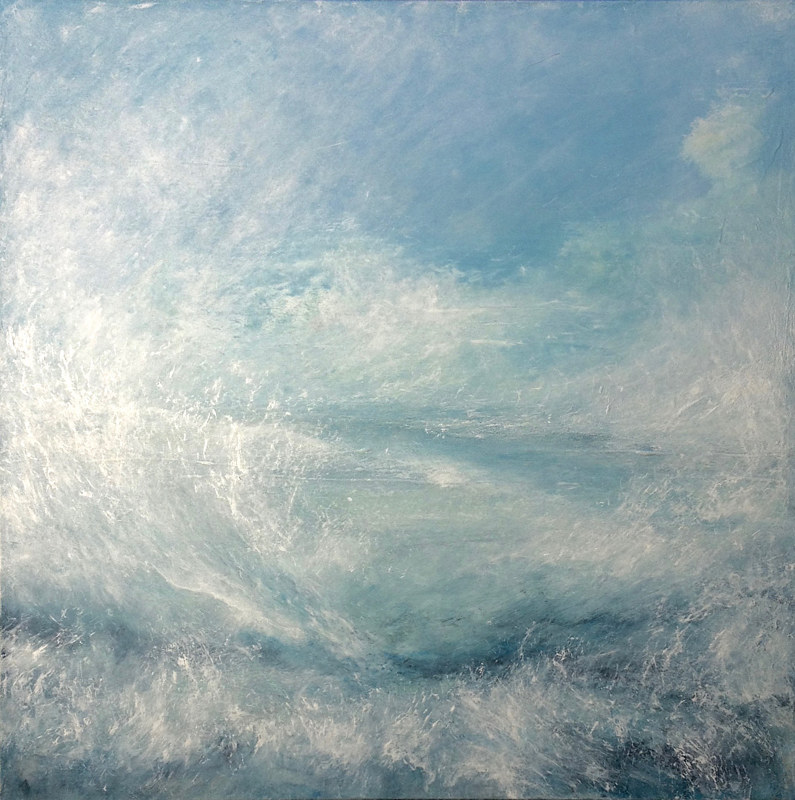 Acrylic painting Salish Sea and Sky by Marion Krahn
