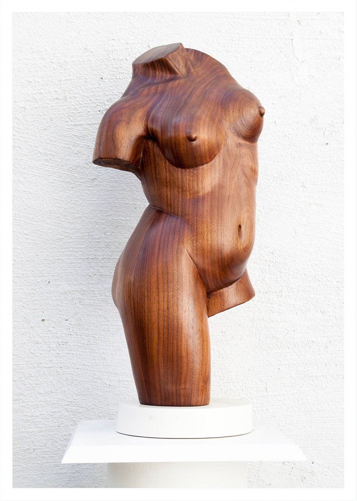 Classical Torso, Walnut - 24 x 8 x 7 by Larry Scaturro