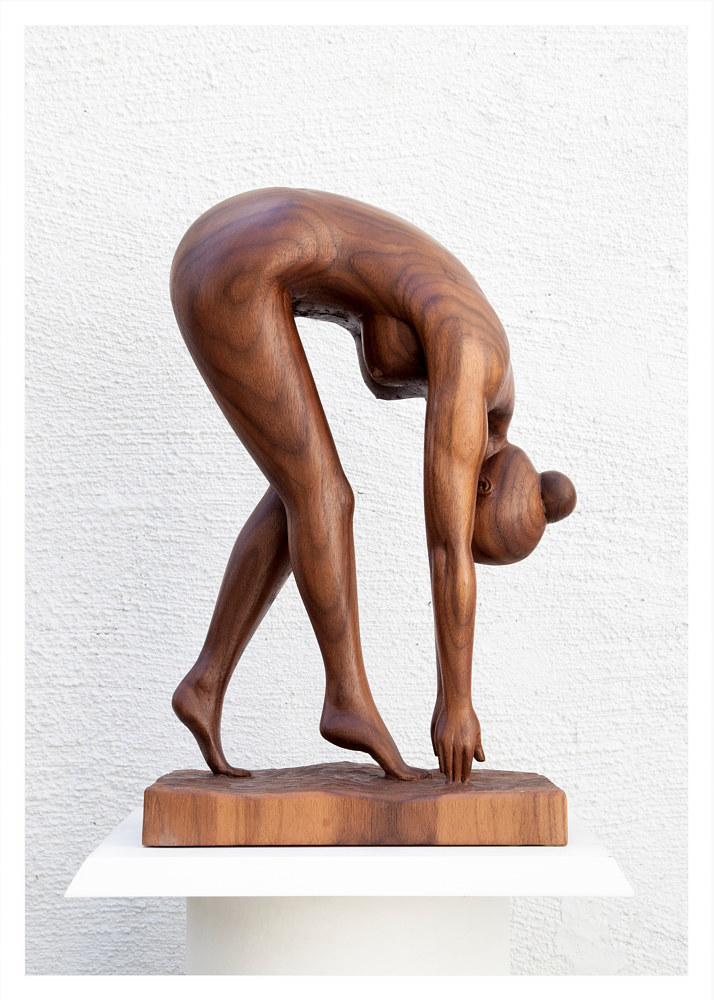 Yoga Stretch, Walnut - 16 x 9 x 6 by Larry Scaturro