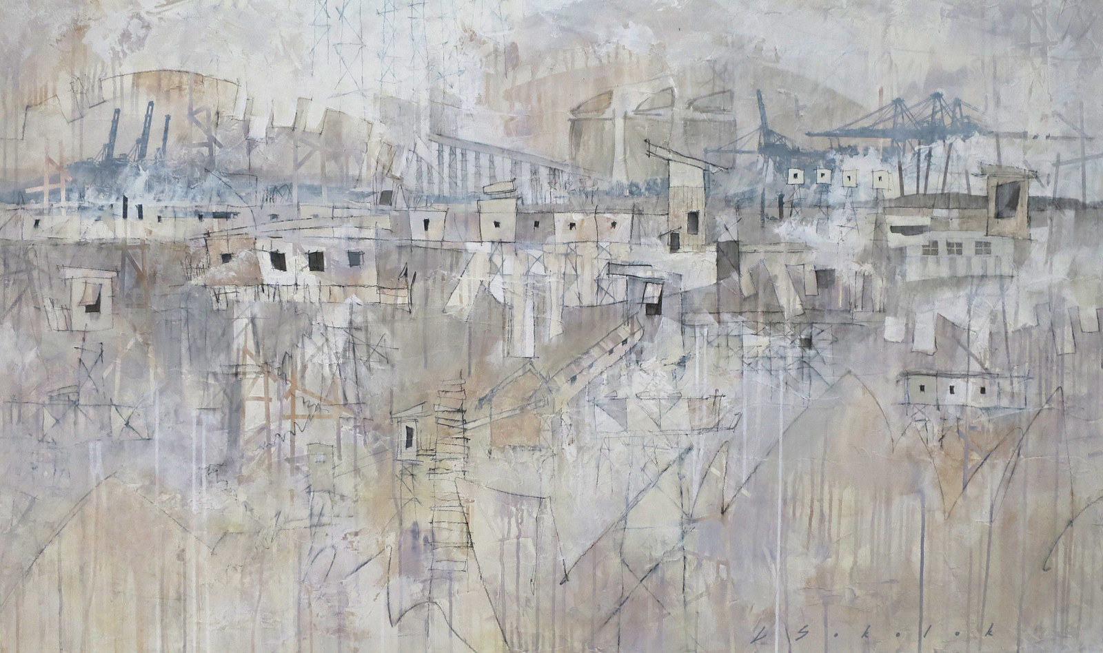 Mixed-media artwork The Port Never Sleeps by Lori Sokoluk