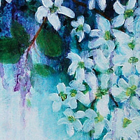 Acrylic painting White Blossoms (Study) by Libuse Labik