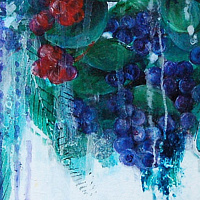 Acrylic painting Blue-Berries (Study) by Libuse Labik