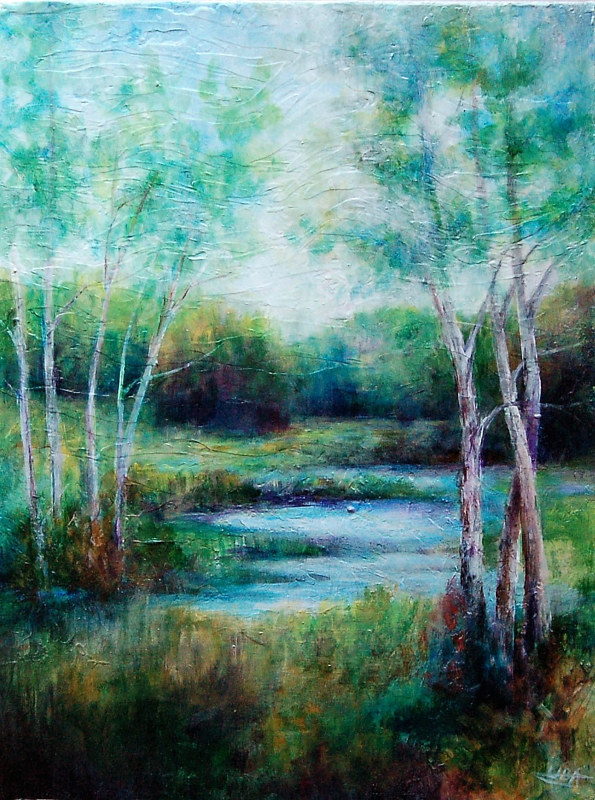 Acrylic painting Wetlands V (Study) by Liba Labik