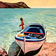 Oil painting Lenore with Greek boat  by Jodi Jansons