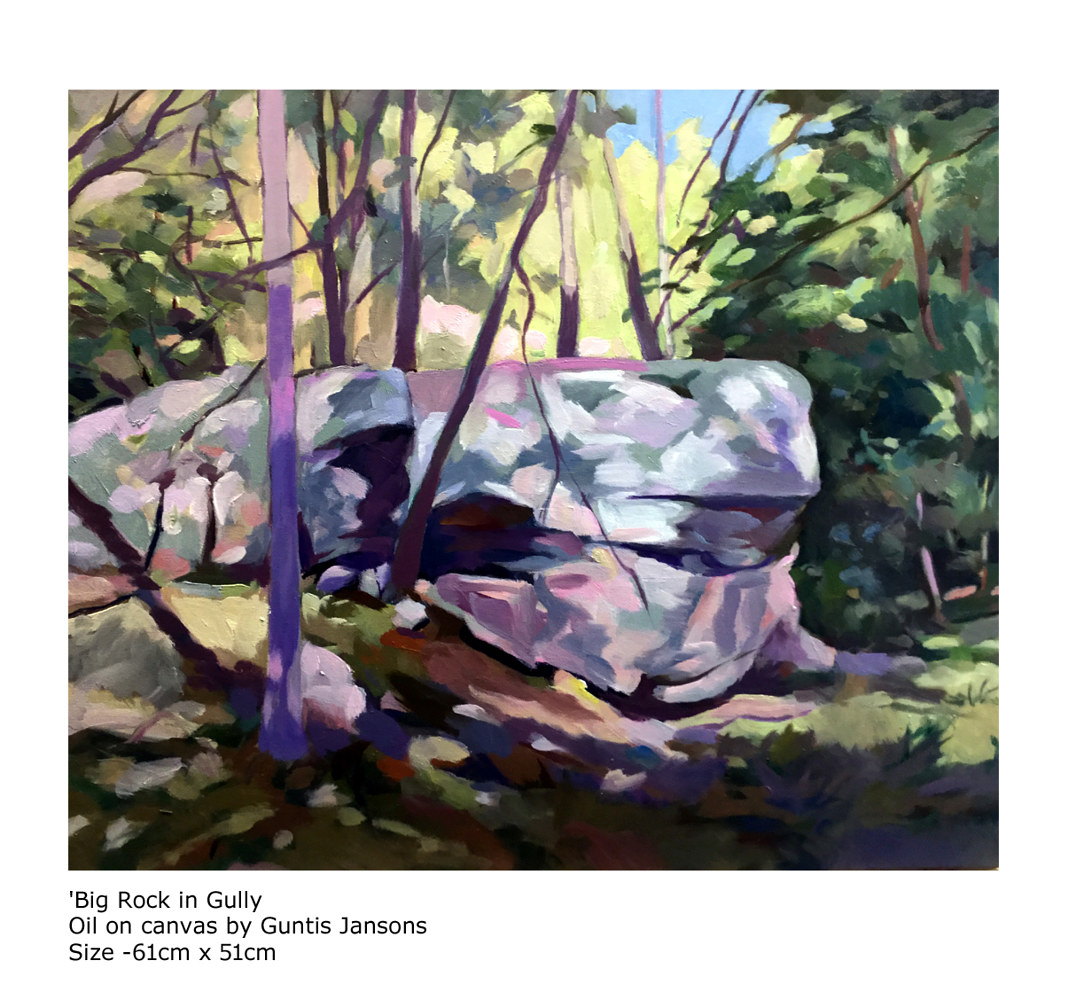 Oil painting Big Rock in Gully  by Guntis Jansons