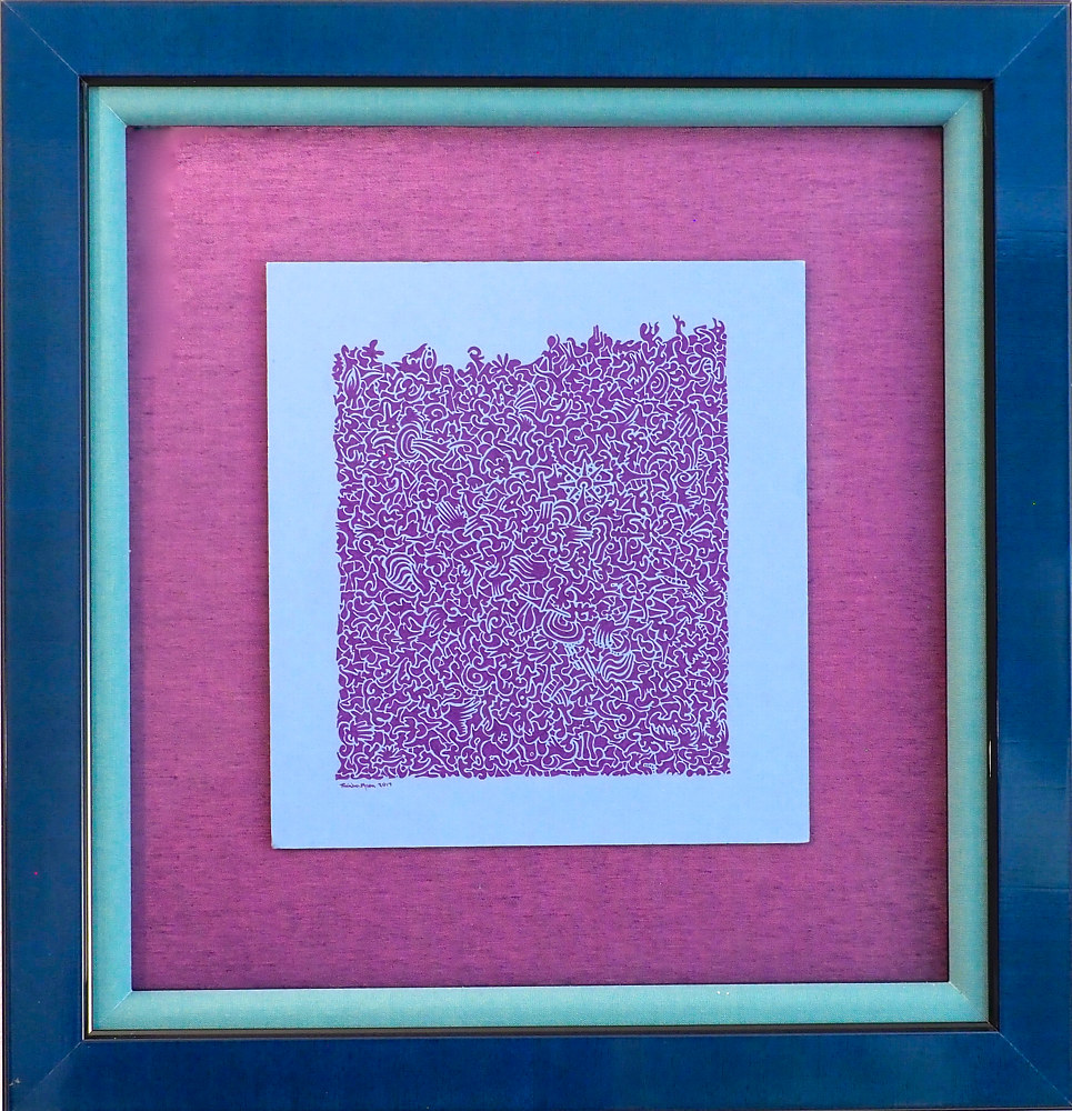 Purple ink on blue may board by Rainbow Moon