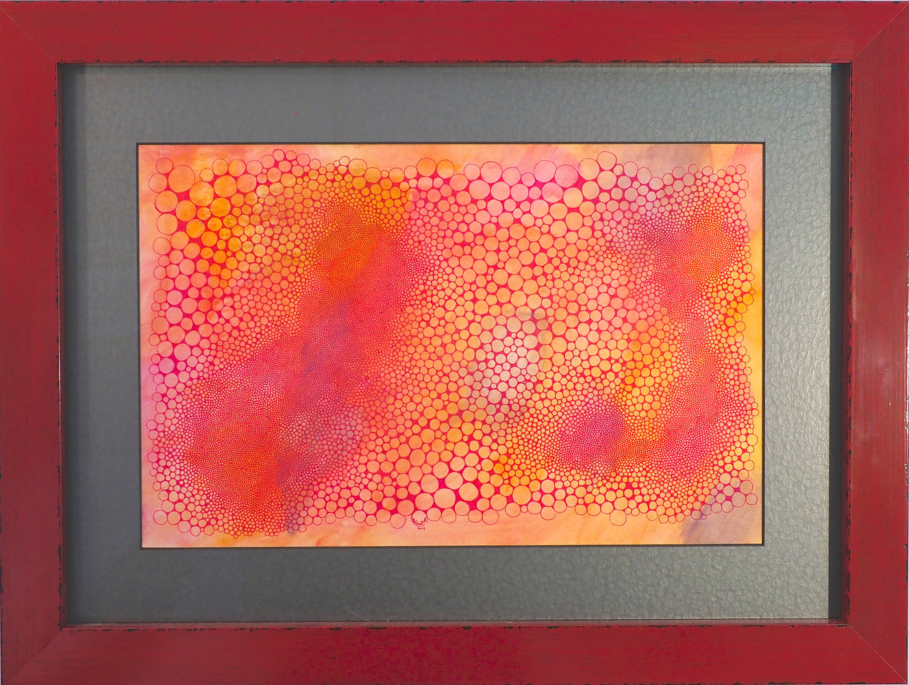 Red ink on orange water color pencil on matboard by Rainbow Moon