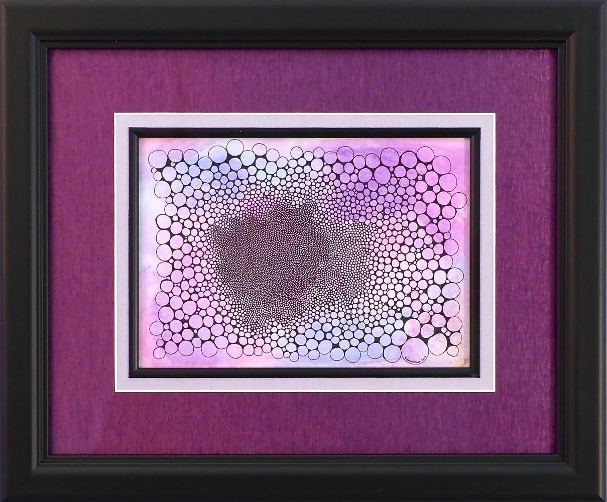 Black ink on purple water color pencil on matboard by Rainbow Moon