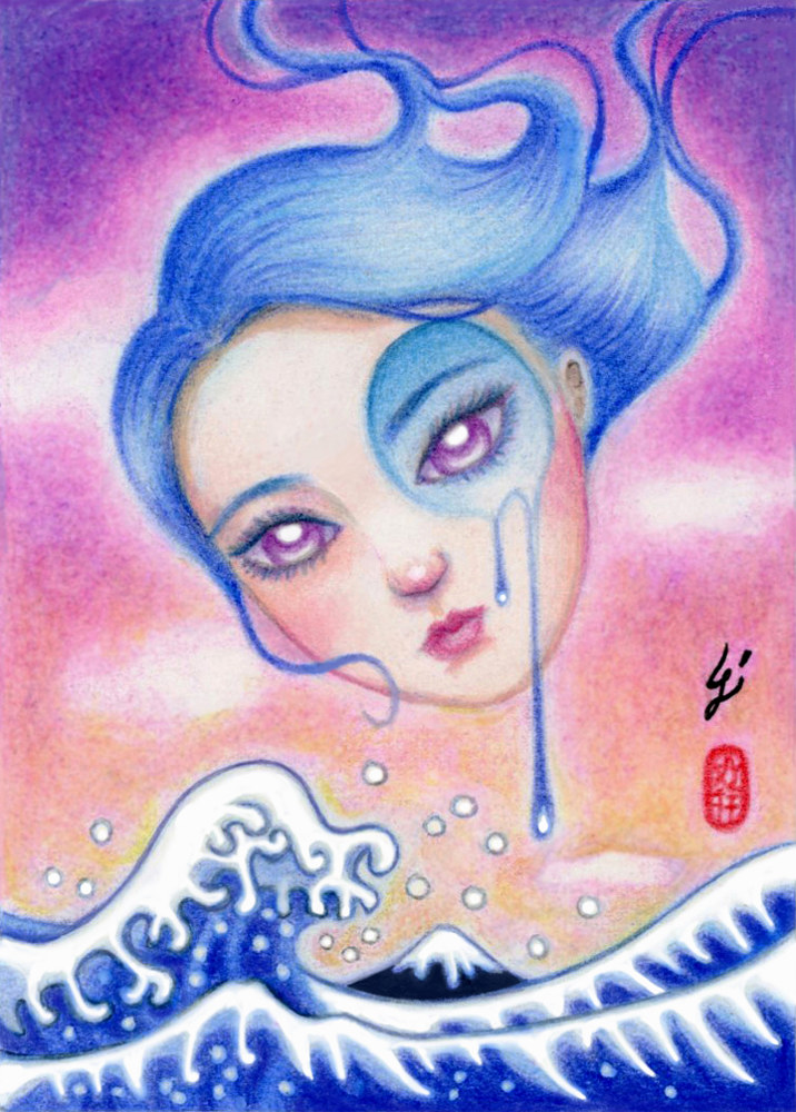 Mixed-media artwork Cry Me an Ocean by Carolina Seth
