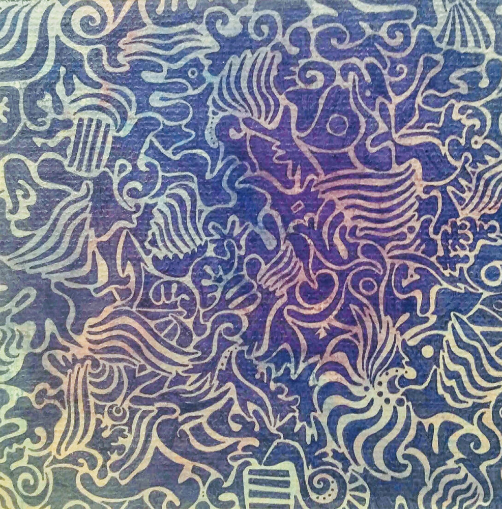 Blue ink on muted watercolor pencil on mat board by Rainbow Moon