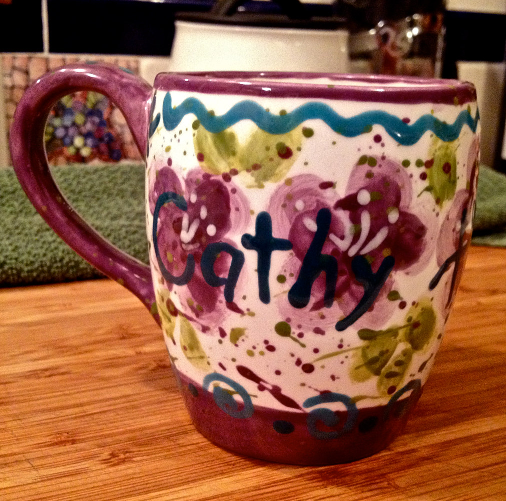 """Personalized Mug—Cathy"" (front) by Linnie (Victoria) Aikens Lindsay"