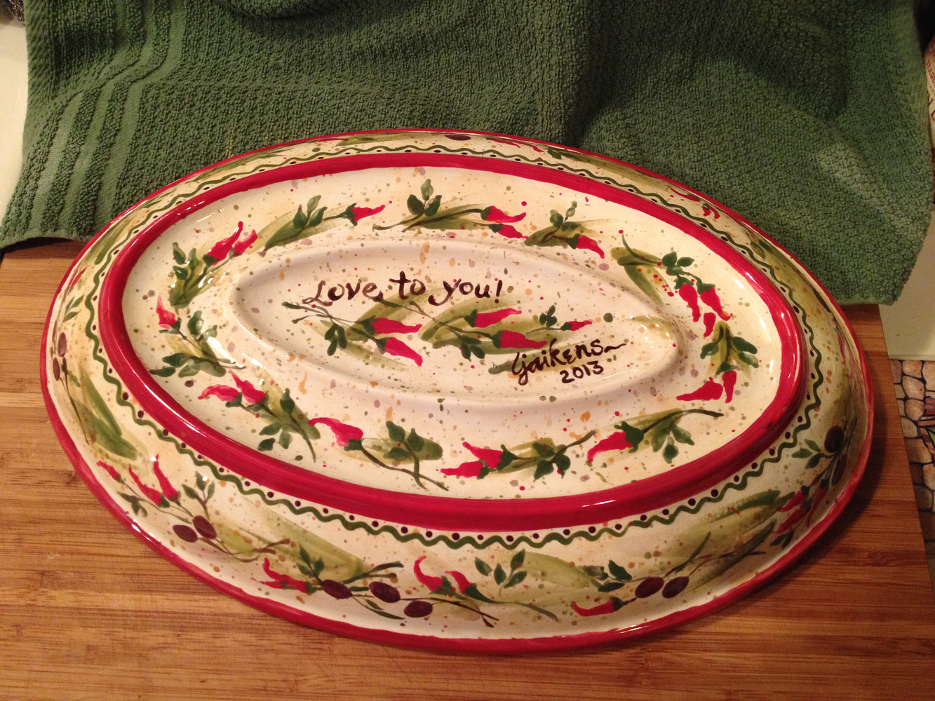 "ceramic ""New Mexican Buon Appetito Platter"" (bottom) by Linnie (Victoria) Aikens Lindsay"