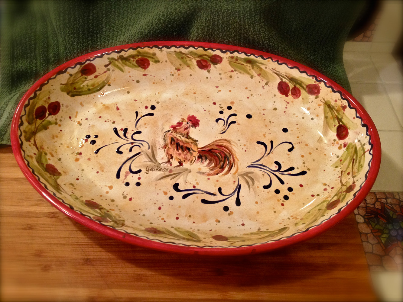 "ceramic ""Italianate Rooster Platter"" (top) by Linnie (Victoria) Aikens Lindsay"