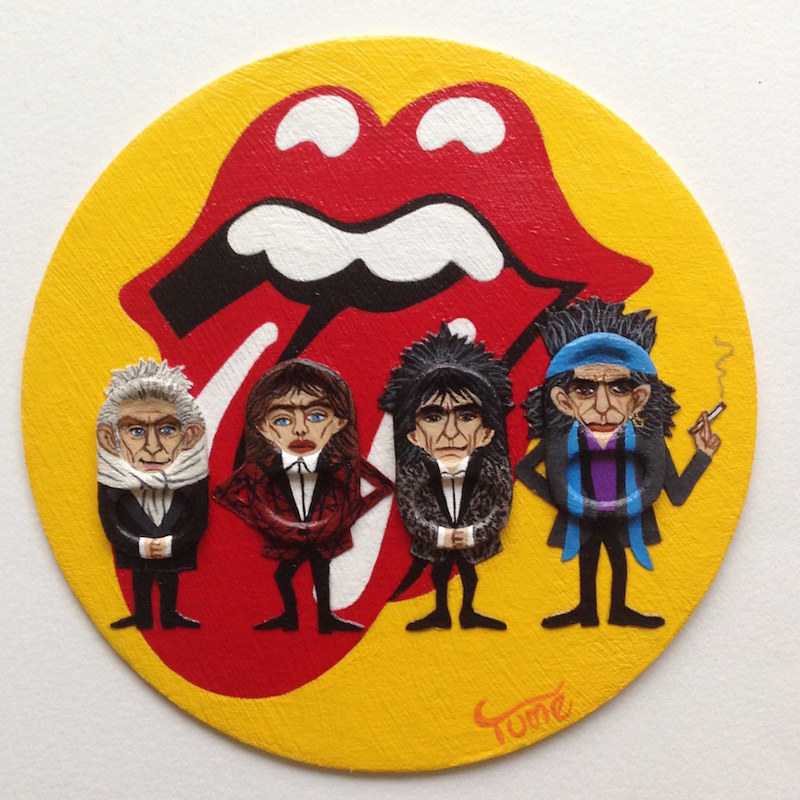 Acrylic painting The Rolling Stones Coaster Art by Yumi Knight