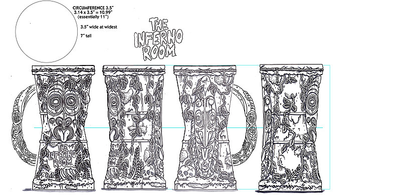 Drawing Inferno Room mug drawing by Kenneth M Ruzic