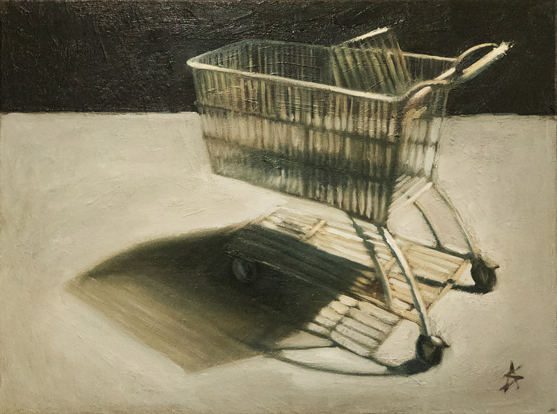 Oil painting Shopping by Alex Selkowitz