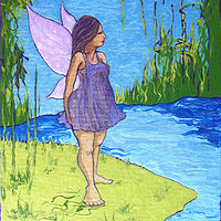 Acrylic painting Earthly Fairy by Pamela Neswald