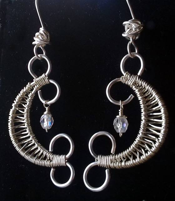 Wire Weaving Moon Earrings by Vicki Allesia