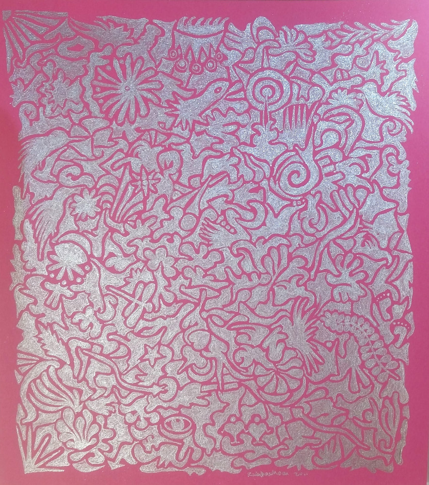 Metallic silver ink on  pink paper by Rainbow Moon