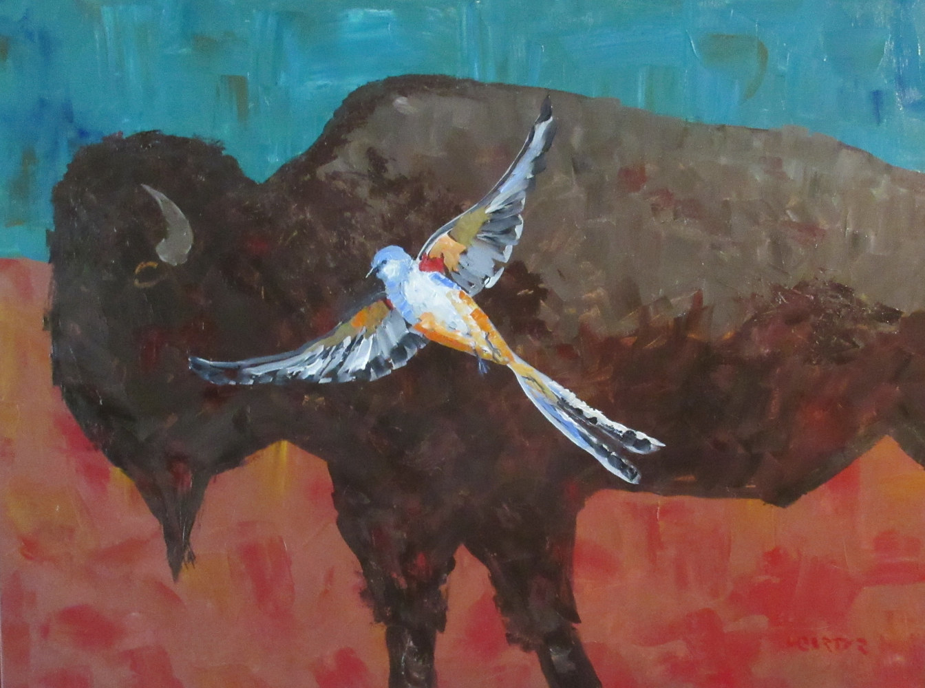 Scissor-tail Buffalo Trail  by Larry Carter