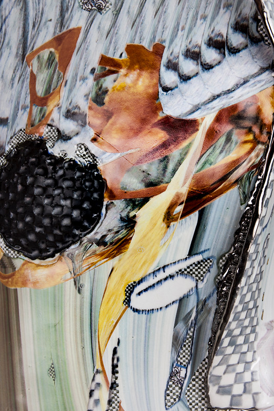 Mixed-media artwork  Ascending across what's pushed (detail) by Darien Arikoski-Johnson