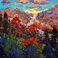Blue Mountain Autumn Acrylic  36 x36 2018 by Brian  Buckrell