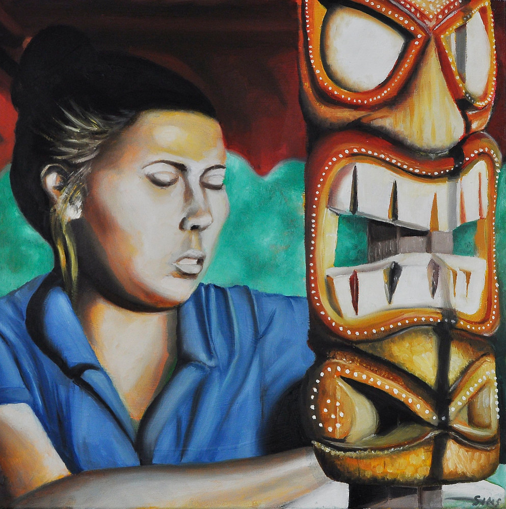 Oil painting Multicultural Mask by Meghan Sims
