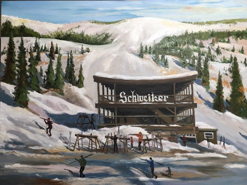 Oil painting Old Schweitzer Lodge by connie scherr
