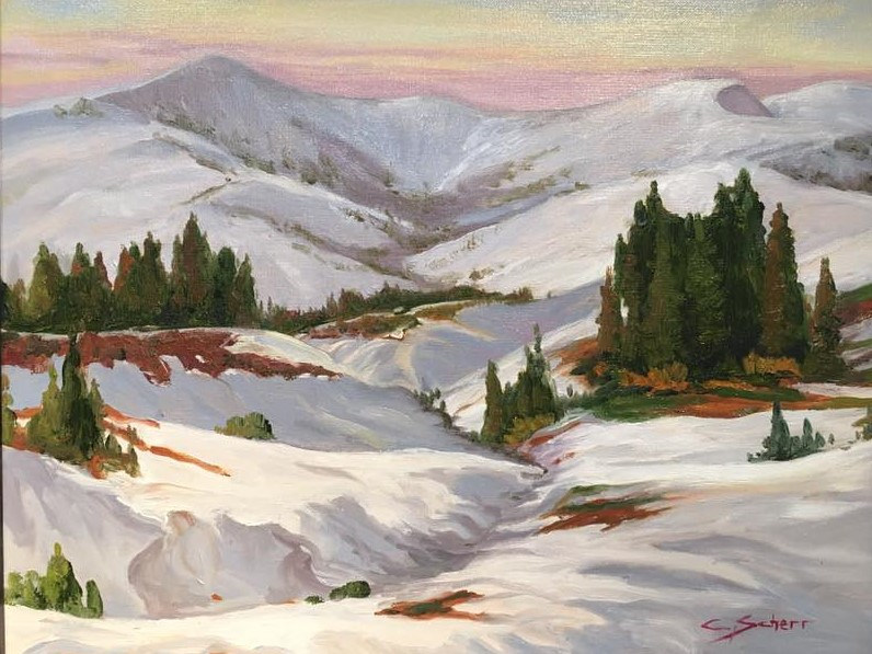 Oil painting A Quiet View of Schweitzer by connie scherr