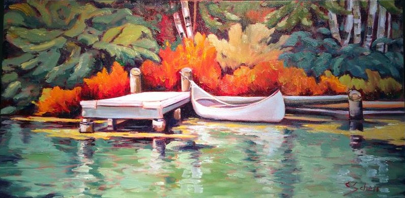 Oil painting Canoe Cove by connie scherr