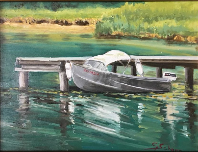 Oil painting Fry Creek Moorage by connie scherr