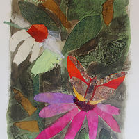 Mixed-media artwork Cone Flowers and Butterfly by Michele Barnes