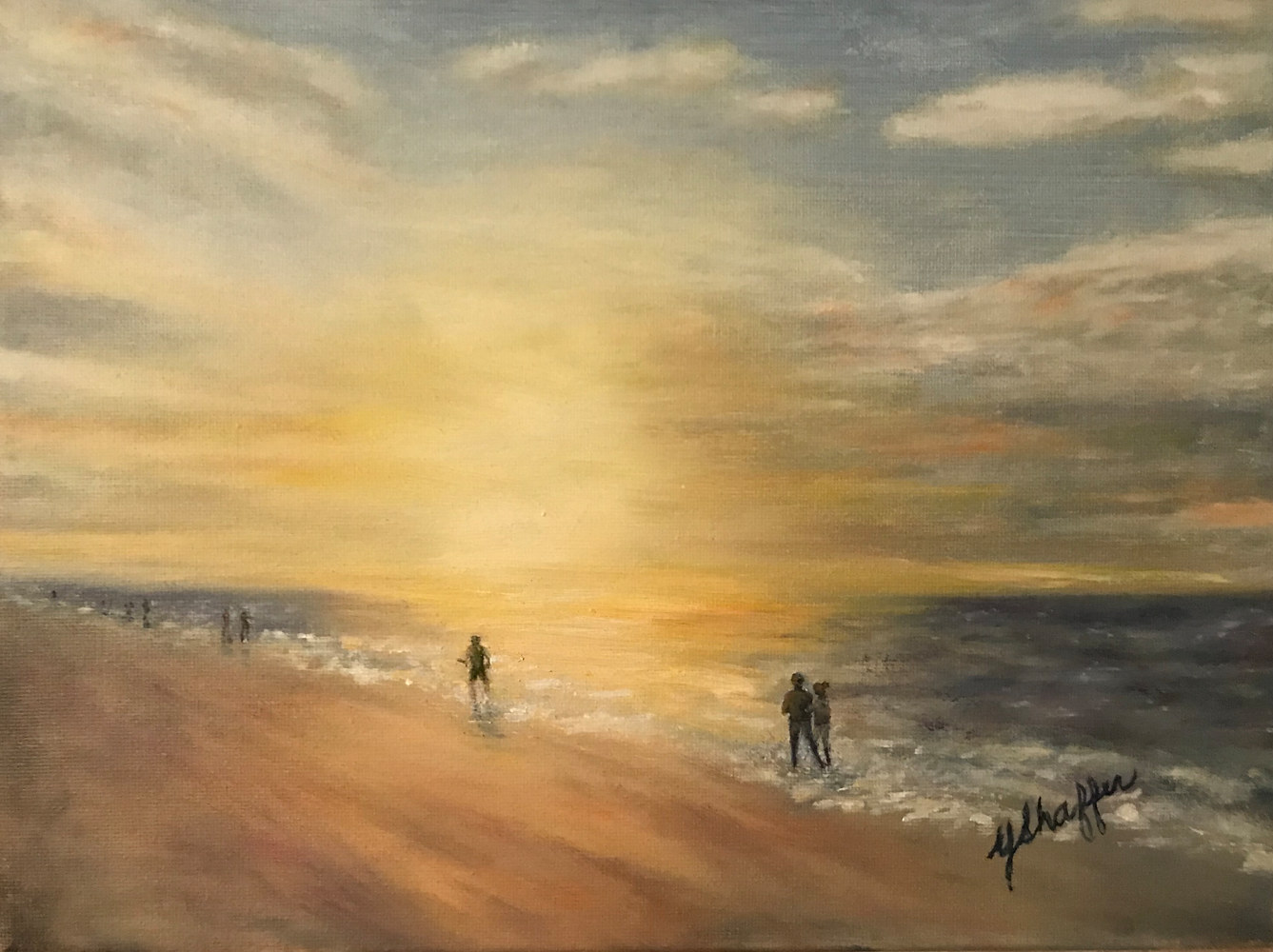 Oil painting Beach Stroll by Yvonne Shaffer