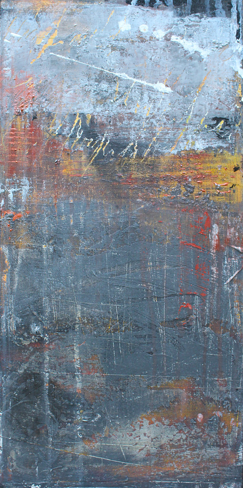Acrylic painting Industrial Fragments 1 by Laura Spring
