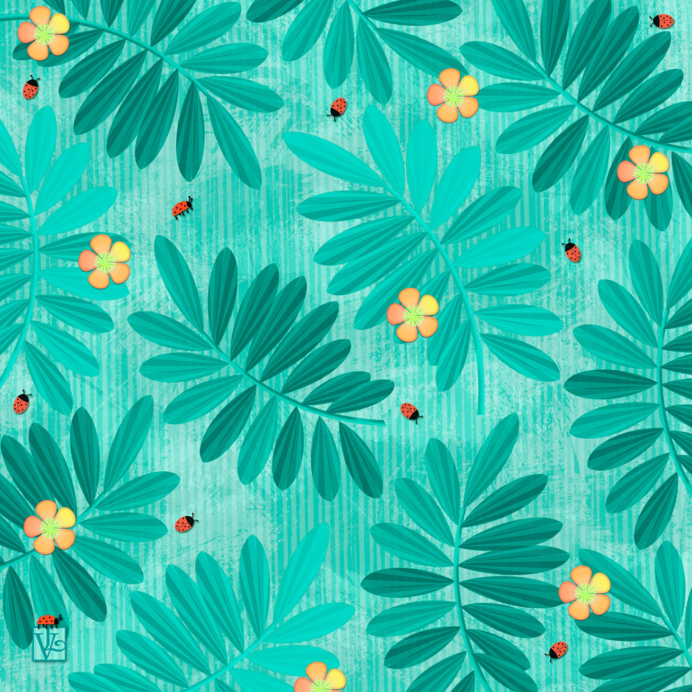 Leaves and Ladybugs Pattern by Valerie Lesiak