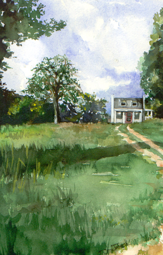 Watercolor Home in the Country by Terry Joseph