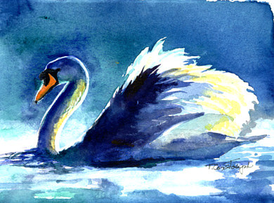 Blue Reflections Swan by Terry Cox-Joseph