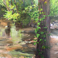 Oil painting The Still River, CT. by Betty Ann  Medeiros