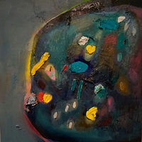 Oil painting Wishing Coins in Dark Pool by Julie Gladstone