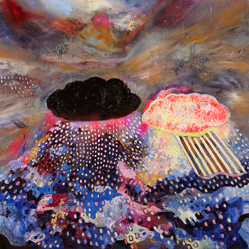 Oil painting Good Cloud, Bad Cloud by Julie Gladstone