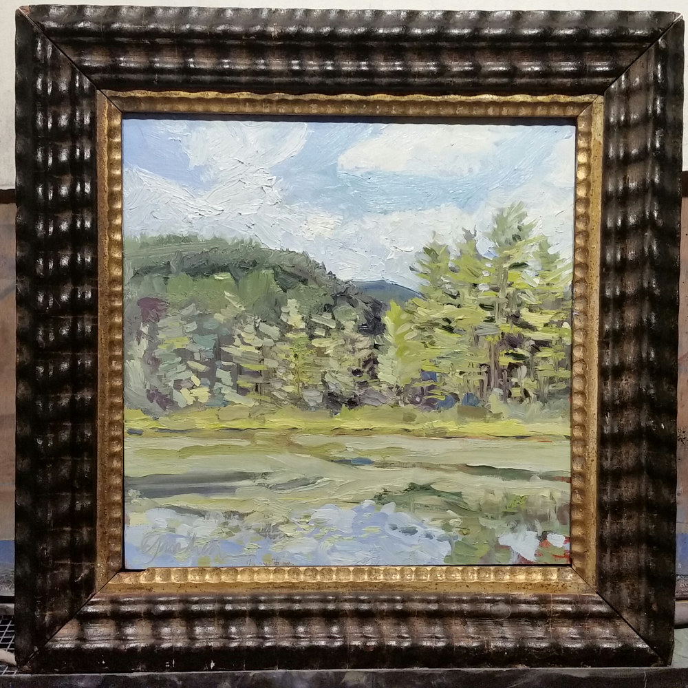 the ice pond , Keene Valley 10x10in oil in antique frame by Michael  Gaudreau