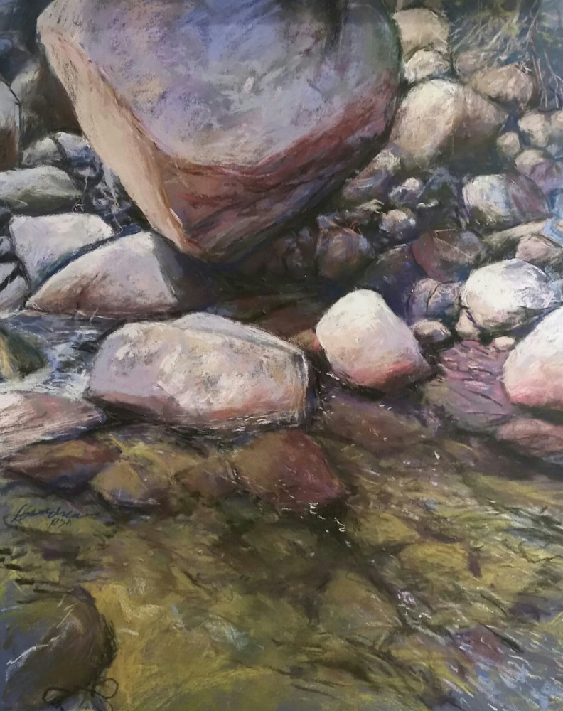 Painting Hidden Rocks  18x24in pastel  by Michael  Gaudreau