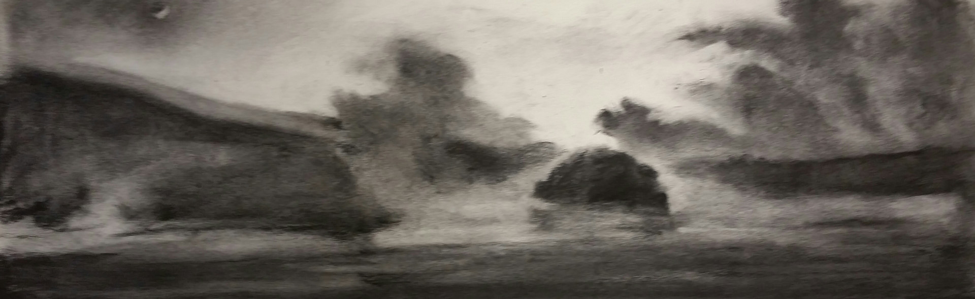 Drawing  Mist at Indian Mound charcoal 8x25in  by Michael  Gaudreau