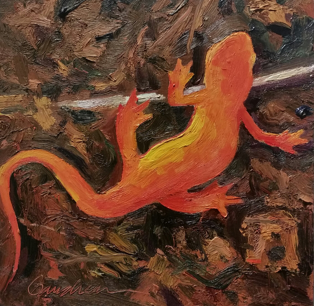 red eft 8x8in oil  by Michael  Gaudreau