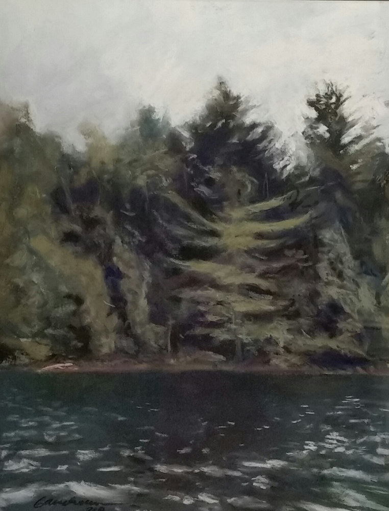 White Pine on Chapel Pond 11x14 pastel  by Michael  Gaudreau