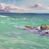 Oil painting Serenity Cove  by Pamela Neswald