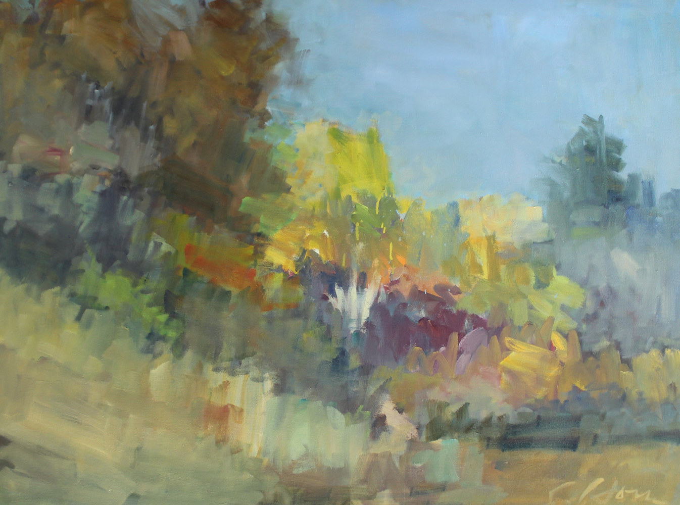 "Prairie, OakTrees, Fall, oil on canvas, 30"" x 40"" by Susan Horn"