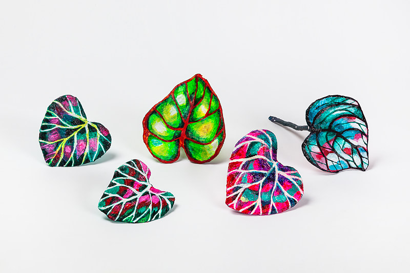 Acrylic painting Neon Leaf Grouping  by Julie Gladstone